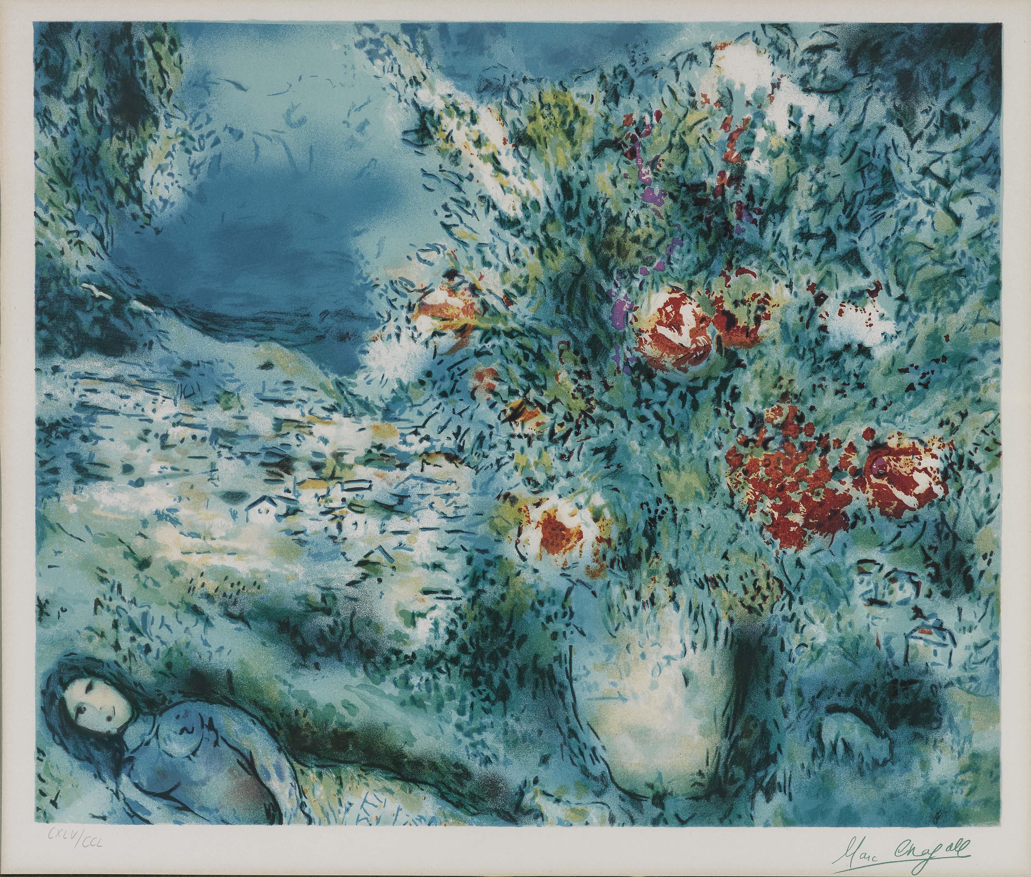 marc chagall landschaft mit blumen und liebespaar. Black Bedroom Furniture Sets. Home Design Ideas