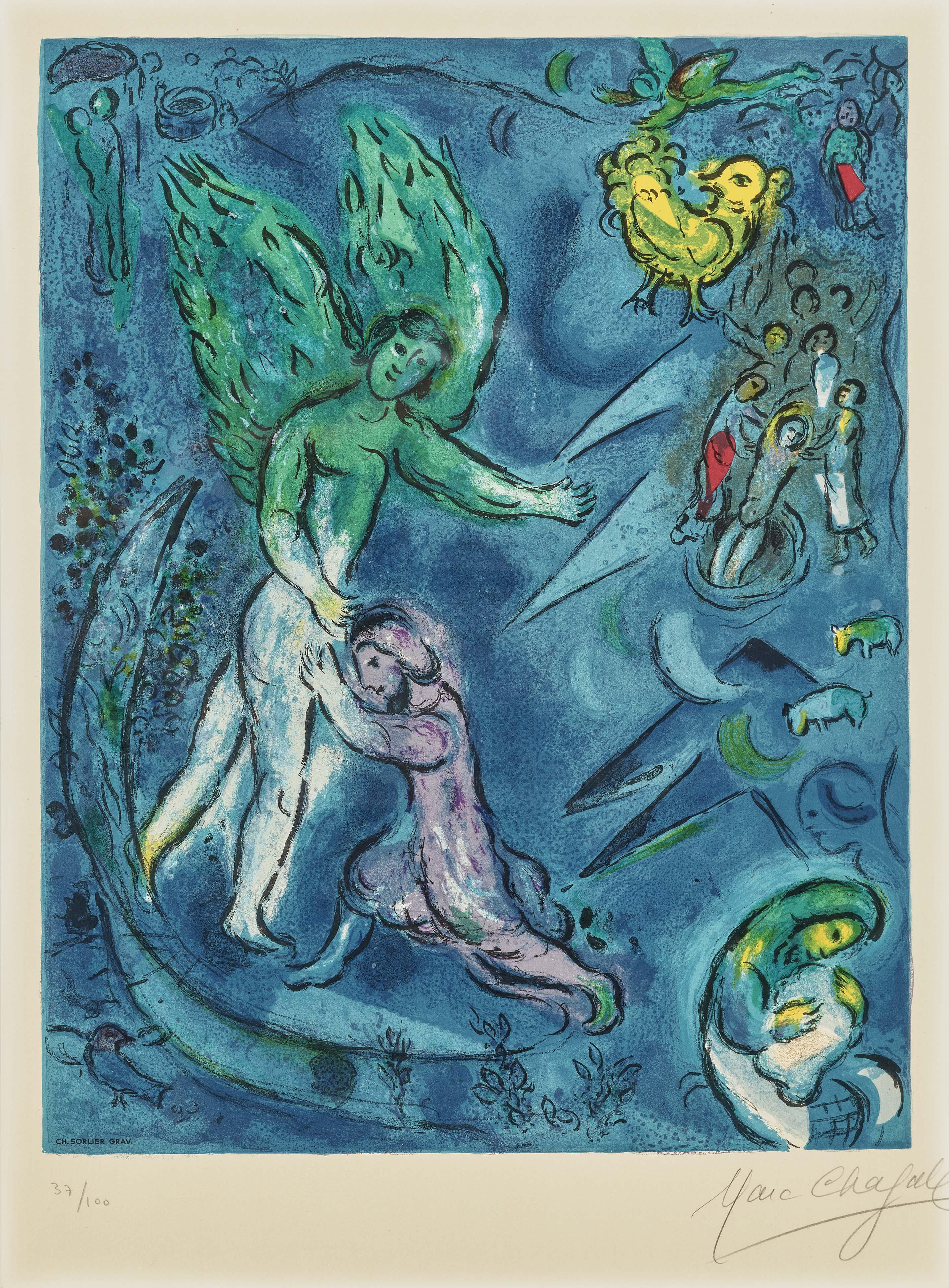 Marc Chagall - Der Kampf Jacobs Mit Dem Engel. 1967